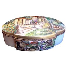 "French Limoges HUGE 16.5"" Hinged Box Scenic Landscapes Artist Caffy c 1960"