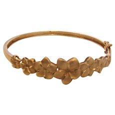 Bracelet 14k Gold Flowers Hinged Bangle Signed Jewelry
