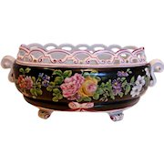 French 18th Century Paris Queen's Factory Footed Centerpiece Bowl Hand Painted Flowers Black Ground c 1778 - 1797