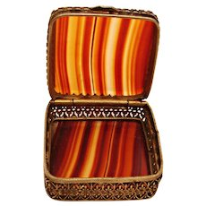Scottish Agate & Brass or Silver Small Box for Jewelry Pills or Trinket c 1900
