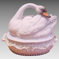 English Staffordshire Swan on Nest Box c 1850 - 1870