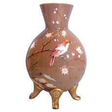 """Bohemian Czech Harrach 13"""" Brown Opal Art Glass  Vase Enameled Bird & Garden Scene Applied Feet c 1875"""