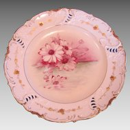 German Footed Pedestal Comport Reticulated Rim Hand Painted Magenta Flowers c 1890 to 1920