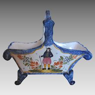 French Quimper Faience Footed Basket Breton c 1922 to 1968