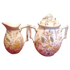 French Limoges Large Cream Pitcher & Sugar w Fish Finial Pattern Has Bugs & Butterfly c 1870