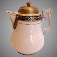 German Meissen Demitasse Chocolate Pot or Hot Milk Jug w Bronze Lid & Bronze Around the Spout Marcolini Period c 1774 - 1817