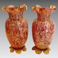 """English Pair 10"""" Art Glass Vases Cranberry or Pale Ruby w Streaks of Mica Amber & Yellow c 1890"""