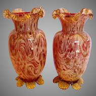 "English Pair 10"" Art Glass Vases Cranberry or Pale Ruby w Streaks of Mica Amber & Yellow c 1890"