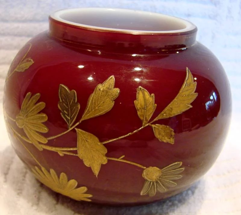 S Bohemian Glass And Gold Red Flowers Vase