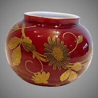 Bohemian Czech Harrach Small Art Glass Vase Cased Red Oxblood w Gold Hand Enameled Flowers & Dragonfly c 1890