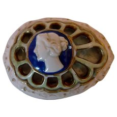 English Small Porcelain Lustre Egg-Shaped Box w Raised Cameo on Reticulated Dome of the Lid c 1900