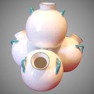 English Royal Worcester Amphora Vase Group of 4 White Glaze w Blue Handles c 1876