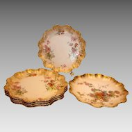 English Royal Doulton Set 6 Coupe Plates Flower Sprays Elegant Gilding c 1930s