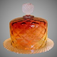 American Amberina Covered Glass Cheese Keeper Dish w Underplate c 1900