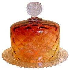 American Amberina Covered Glass Cheese Keeper Dish w Underplate c 1900