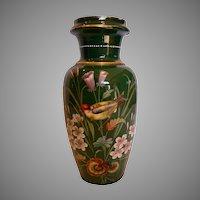 """Bohemian Czech Harrach Large Green Art Glass Vase 13 ½"""" w Hand Painted Bird & Flowers c 1880"""