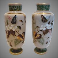 Bohemian Czech Harrach Pair Art Glass Vases Hand Painted Enameled Butterflies & Flowers C 1880