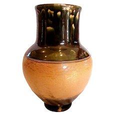 "English Royal Doulton Stoneware Vase 13 ½"" Deep Green Glaze c 1902"
