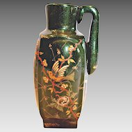 French Pottery Jug w Sparkling Green Glaze Hand Enameled Bird Dragonfly Nest Foliage c 1890