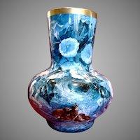 French Limoges Huge Vase Blue & White Morning Glories Baby Birds c 1875 - 1899