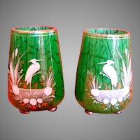 Bohemian  Czech Harrach Marmor Pair Small Art Glass Vases Mottled Green w Hand Enameled Herons Birds c 1885