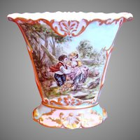 French Old Paris Vase Hand Painted Artist Signed Scene c 1850 to 1870
