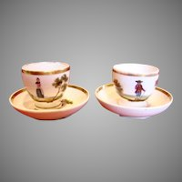 French Old Paris Pair of Cup & Saucers Hand Painted Scenes Male & Female c 1850