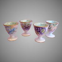 French Limoges Set of Four Tiny Footed Eggcups Egg Cups Hand Painted Roses Violets c 1890 - 1932