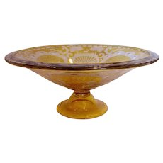 Bohemian Czech Amber Glass Footed Centerpiece Bowl Acid Cut Deer Turrets, Trees & Scrolls c 1930