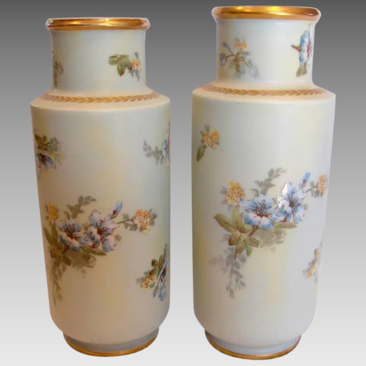 French Limoges Pair 11 Vases Hand Painted Blue Yellow Flowers C