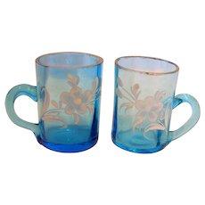 Bohemian Art Glass Pair of Blue Shot Mugs for Whiskey w Handles Hand Painted Enameled Flowers c 1880