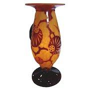 French Art Glass Cameo Vase Schneider Le Verre Francais Décor Epinette Signed c 1925 - 1927