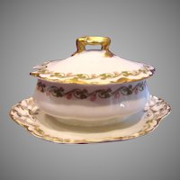 French Haviland Limoges Mustard Pot w Attached Underplate Clover Leaf Schleiger 98 c 1893 - 1930