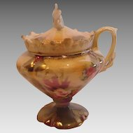 German RS Prussia Footed Pedestal Mustard Pot w Roses Mold 608 c 1879 - 1914