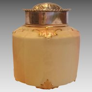 English Locke Worcester Small Hexagon Covered Vase Tea Caddy w Sterling Silver Lid c 1895 - 1900