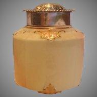 English Locke Worcester Small Hexagon Covered Jar Tea Caddy w Sterling Silver Lid c 1895 - 1900