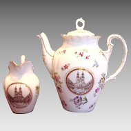 German Tielsch Teapot or Coffee Pot & Creamer w a Polish Scene of Congress of Gnieźnieński in Gnesen c 1900 - 1934