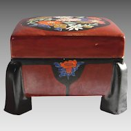Japanese Satsuma Footed Box Brown w Enameled Flowers Meiji Period