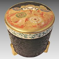 Japanese Satsuma Footed Round Canister Box Rare Black Brocade Ground w Moriage and Enamel Meiji Period Signed