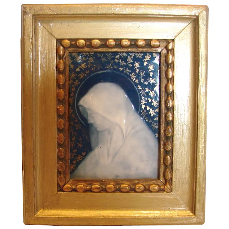 French Limoges Small Framed Porcelain Plaque Side Profile of Virgin ...