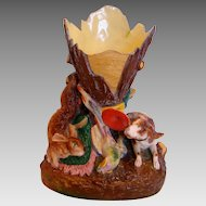Bohemian Czech Pirkenhammer Fisher Bisque Porcelain Figural Vase w Hunting Retriever Dog Rabbit Pheasant Bird c 1846 - 1857