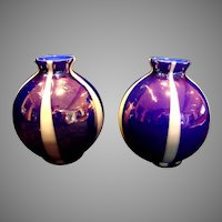 Bohemian Czech Unusual Pair Small Art Glass Vases Three Layers Blue White Blue & Iridescent Marked c 1910