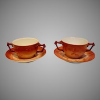 French Limoges Pair Bouillon Cups Scrs Hand Painted Blackberries Shaded Red c 1892 - 1907