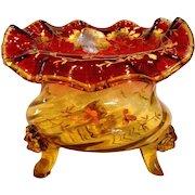 Bohemian Amberina Amber-to-Red Large Art Glass Centerpiece Flower Bowl Jardinière or Vase w Lion Face Feet Enameled Gold Bird c 1880