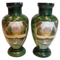 "French Pair Opaline 11 ¾"" Art Glass Vases Painted Swan Bird Water Scene c 1860 - 1870"