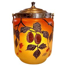 French Joma Art Glass Pate Verre Hand Painted Nuts & Leaves Cookie Jar w Metal Lid Art Deco Signed c 1930 - 1935