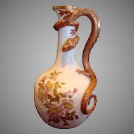 """English Royal Worcester 11.5"""" Ewer Vase w Figural Serpent Snake Lizard Handle Hand Painted Flowers Exterior Scales c 1886"""