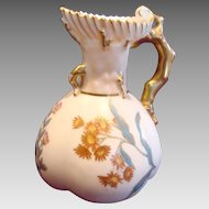 English Royal Worcester Small Coral Handled Vase Hand Painted Flowers c 1891