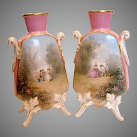 French Pair Old Paris Footed Vases Hand Painted Children Scenes Roses Pink Ground c 1860