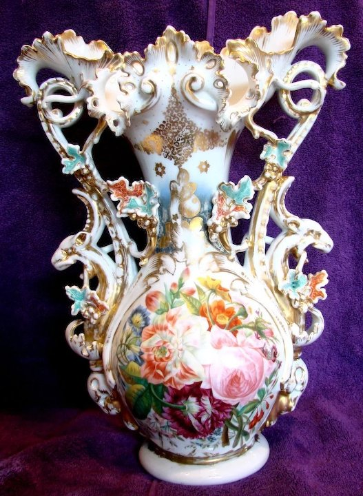 French Old Paris 17 Ornate Display Vase Hand Painted Roses Ram Or